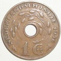 1936 NETHERLANDS EAST INDIES 1 CENT WORLD COIN NICE!
