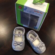 Stride Rite Crib & Crawl Mini Kenna Silver Shoes - Size 3, New In Box.
