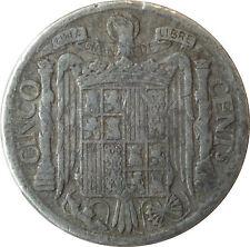 ESPAÑA: 5 CEMTIMOS FRANCISCO FRANCO. AÑO 1941. BC-. MUY GUAPA.