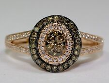 14k Rose Gold Round White Diamond And Brown Diamond Double Halo Ring Size 7