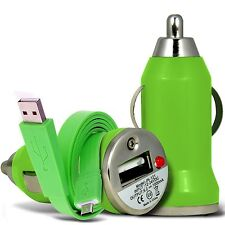 Green Single Port USB Car Charger & Flat Data Cable For Binatone M250 Big Button
