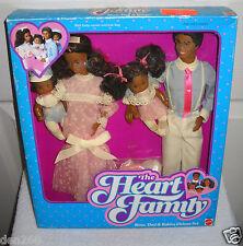 #4386 NIB Vintage Mattel Heart Family Mom, Dad & Babies African American Dolls