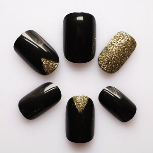 24 False Nails, High Quality Artificial Nail Tips #Black Nails with Gold Glitter