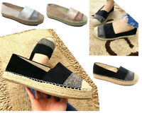 New Women lady platform loafers shoes glitter diamante espadrilles Pumps Slip On