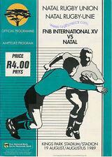 NATAL V FNB internazionali (mondiale) XV 1989 RUGBY programma, S Africa CENTENARIO