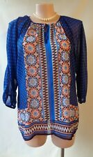 Millers size 18 blue border print top 3/4 sleeve