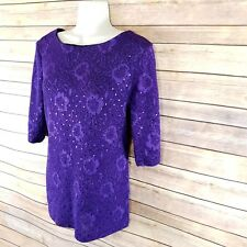Womens Business Casual Top M Dressy Blouse Purple Sequin Connected Apparel