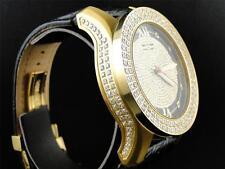Mens Yellow Gold Khronos 2 Row Bezel Satin Finish Case Diamond Watch