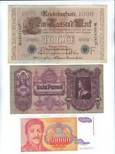 3 World Mixed Banknotes Currency Lot Germany, Hungary, Serbia !