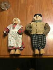 2 Antique Folk Dolls, Handmade in Europe, Many Fabrics, Wood Shoes, Neat!!!