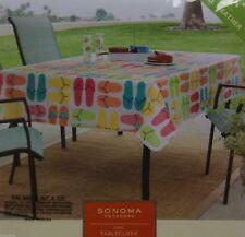 Sonoma Vinyl Orange Pink Blue Green Flip Flop Design 70x90 Oblong Tablecloth