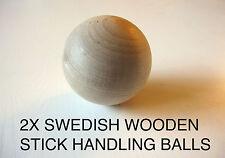 "2 Hockey Swedish Wooden Stickhandling Ball! 2"", Wood Stick Handling Training Aid"