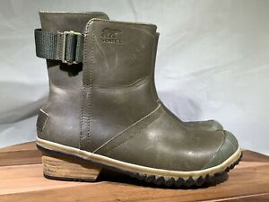 Sorel Slimboot Pull On Womens Winter Oiled Leather Rain Short Ankle Boots Sz 6
