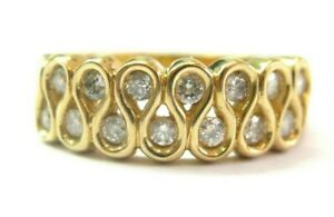 Two Row Round Diamond Yellow Gold Ring 14KT .99Ct SIZEABLE 14-Stones G-H/SI1