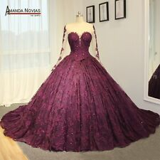 Amazing high-end wedding dress purple lace wedding dress long train bridal weddi