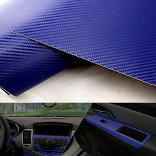 "Blue Carbon Fiber Texture Decal 20""x50"" Dashboard Vinyl Wrap Decorative Sticker"