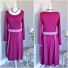 "ARTIGIANO Vibrant pink 100% wool flare dress LARGE, 36"" CH. Stretchy"