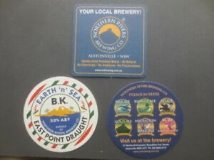 3 different  NORTHERN RIVER Brewing Co.,New South Wales Issue BEER COASTERS