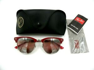 Ray-Ban Sunglasses RB3716 Clubmaster Metal 9159/AI Red Silver  Italy Authentic!