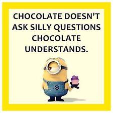 "4""x4"" Flexible Fridge Magnet Funny Minion Meme Chocolate Understands"