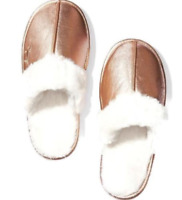 VICTORIAS SECRET PINK SHERPA FAUX FUR LINED SLIPPERS METALLIC ROSE GOLD S M L