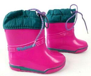 LaCrosse Pull On Rubber Boots SZ 7 Fuchsia/Teal Snow Ski Rain Pink Wellies