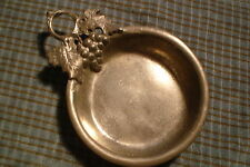 Vintage Pewter Porringer Grape Leaves Hallmarks 95% Made in Italy