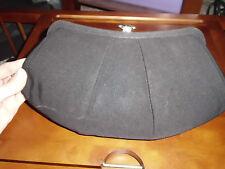 Vtg Black Fabric Clutch Handbag Purse with Gold Rhinestone Flower Clasp