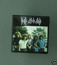 RARE VINTAGE Def LEPPARD SQUARE BUTTON PIN