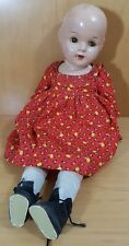 """Antique 1930-40s Composition & Cloth 21"""" Baby Crying Doll 4 Teeth Toddler"""