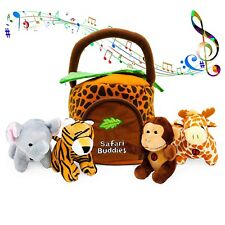 Kleeger Plush Talking Jungle Animals Toy Set (5 Pcs - Plays Sounds) with Carr.
