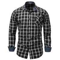 New Fashion Men's Slim Fit Shirt Cotton Long Sleeve Shirts Casual Shirt Tops