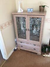 limed oak display cabinet