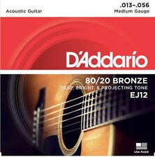D'Addario EJ12  Acoustic Guitar Strings 80/20 Bronze Medium 13-56