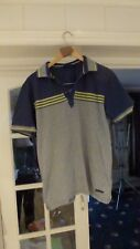 a DUCK AND COVER Men Grey Striped Polo Shirt Size  M