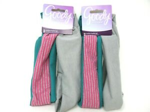 (2) Goody Ouchless Headbands 2 Piece Gray Green with Pink Gray Stripes 4 Total