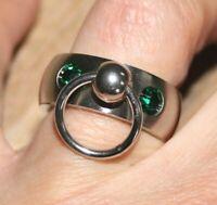 Sklaven Ring mit 2 Glaskristallen grün Metall von SML Made in Germany