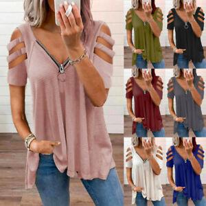 UK Womens Zipper Ladies T Shirt Blouse Cold Shoulder Hollow Tee Loose Basic Tops