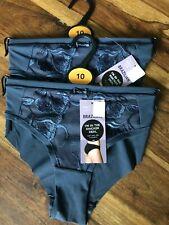 M/&S Cotton//Modal Blend Lace Trim Shorts Style Briefs 8 Dk Purple BNWT