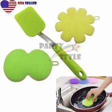 3 pack Silicone Antibacterial Scrubber Sponge for Dishwash Makeup Brush Cleaner