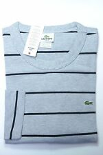 NWT Lacoste Men's Long Sleeve Slim Fit Gray Striped Cotton Henley Shirt XL Eu 6