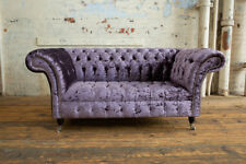 MODERN HANDMADE 2 SEATER PURPLE CRUSHED VELVET FABRIC CHESTERFIELD SOFA COUCH