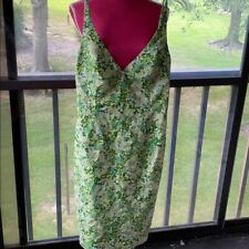 Vintage Milly dress 8 GREEN WHITE FLORAL PRINT
