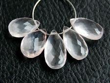 Natural Pink Rose Quartz Faceted Pear Briolette Semi Precious Gemstone Beads 005