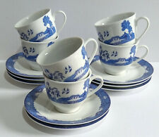 More details for royal norfolk blue & white willow pattern design cups & saucers x 6 - please rd