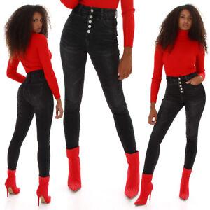 Jeans High Waist Damen Skinny Jeans Jeanshose Corsage Look