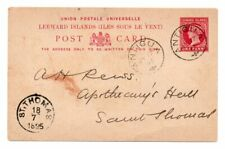 LEEWARD ISLANDS: PS Postcard Antigua to Danish West Indies 1895. Arr.canc.Scarce