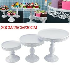 3pcs White Crystal Round Cake Stand Display Dessert Holder Wedding Party Decor