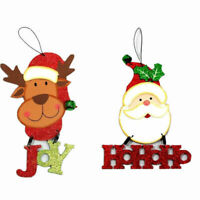 Christmas Xmas Hanging Decoration Décor w Glitter & Bell - Santa Reindeer