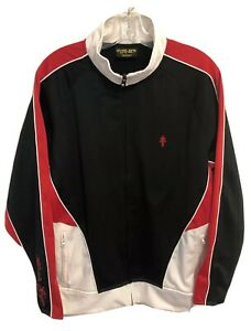GOLDS GYM Retro Red Black White Track Jacket - Workout Gym - Men's Large